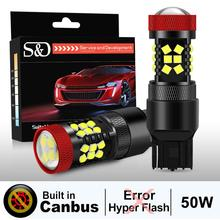 2Pcs T20 LED CANBUS Bulb No Hyper Flash 7443 7440 W21/5W LED W21W P21/7W Car Lights Amber Yellow Red Turn Signal Reverse Lamp