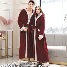 Men Winter Plus Size Long Cozy Flannel Bathrobe Kimono Warm Coral Fleece Bath Robe Night Fur Robes Dressing Gown Women Sleepwear