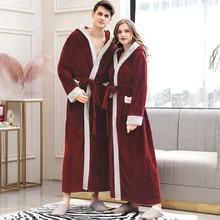 Peignoir en flanelle pour hommes, grande taille, tenue de bain en molleton de corail chaud, tenue de nuit en fourrure, vêtements de nuit pour femmes