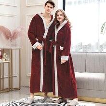 ผู้ชายฤดูหนาว Plus ขนาดยาว Cozy Flannel เสื้อคลุมอาบน้ำ Kimono Warm Coral Fleece Bath Robe ขนสัตว์ Robes Dressing Gown ผู้หญิงชุดนอน