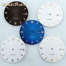 Goutent 1 Uds 33mm negro/Blanco/azul esfera del reloj estéril fit Miyota 8205/8215/821A/82 series,Mingzhu DG2813 movimiento