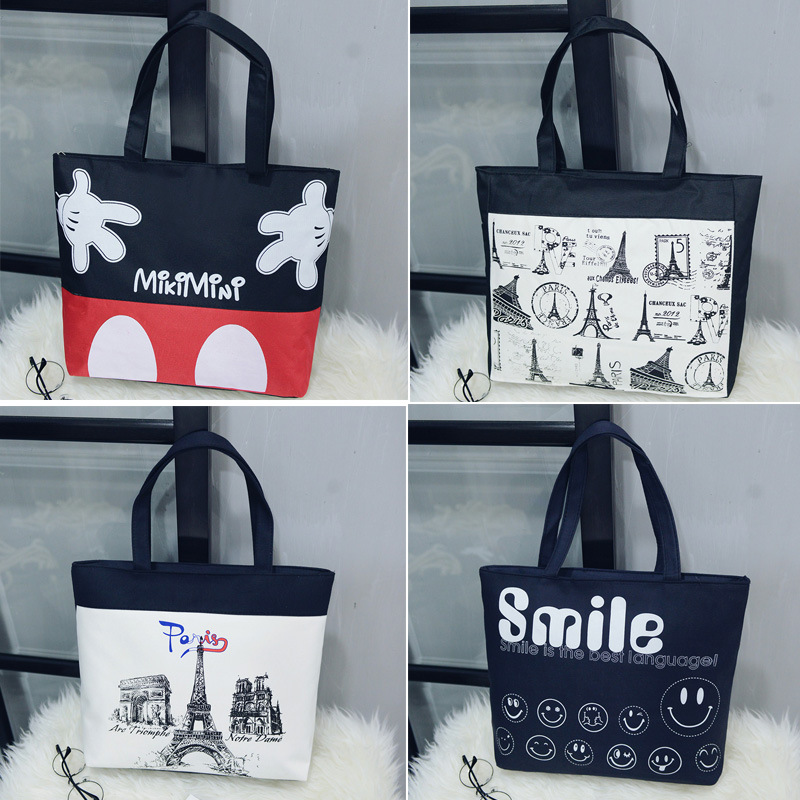 New Style Literature And Art Girl'S One Shoulder Canvas Bag Fashion New Style Simple Shopping Bag Diaper Bag