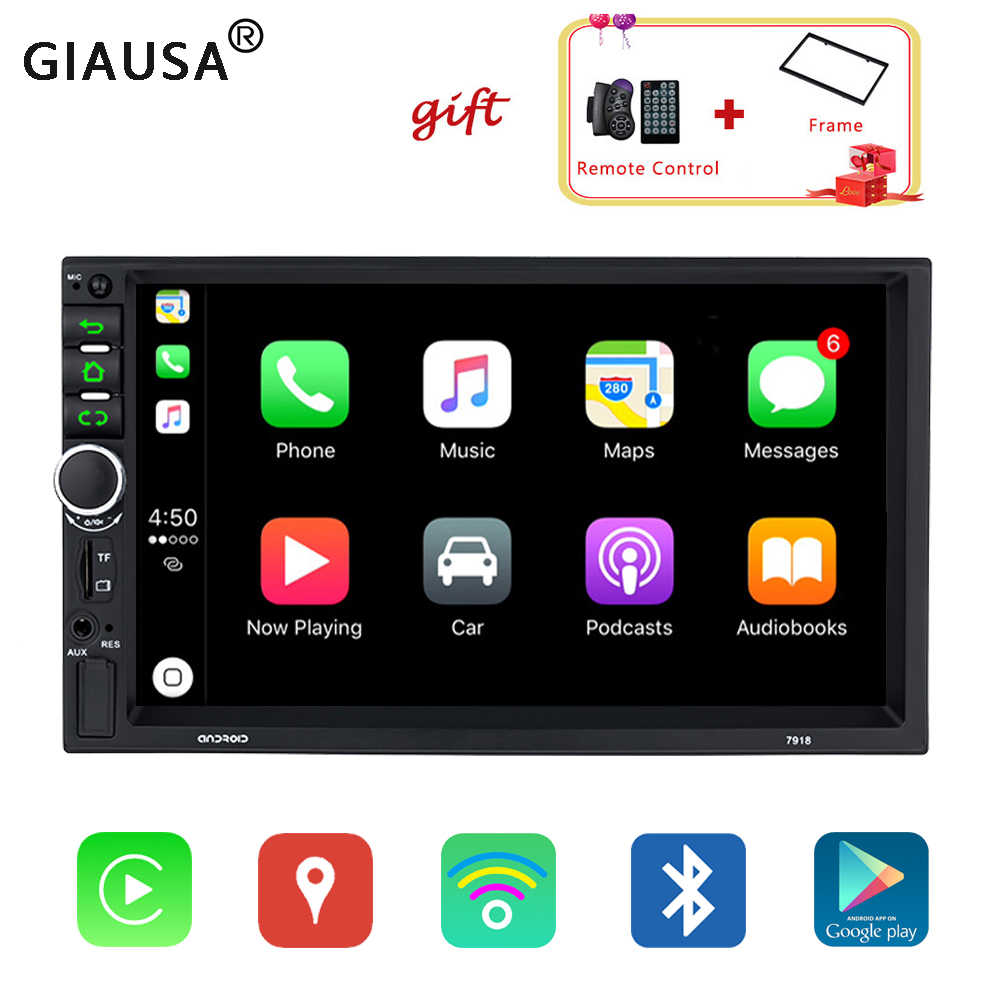 7 inch Autoradio Voor Apple Carplay dubbele 2 Din Android 8.1 auto multimedia speler universele GPS navigatie Bluetooth luidspreker spiegel link touchscreen DAB USB AUX Subwoofer head unit auto stereo audio geen DVD