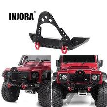 INJORA Metal Black Front Bumper with Light for 1/10 RC Crawler Car Traxxas TRX 4 Axial SCX10 & SCX10 II 90046 SCX10 III AXI03007