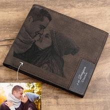 صورة مخصصة محفظة من جلد PU رجالي Bifold نقش مخصص صورة محفورة محفظة الشكر هدايا له محفظة مُخصصة