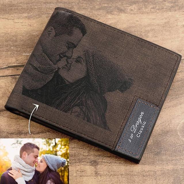 Zdjęcie na zamówienie portfel ze skóry PU męska Bifold niestandardowy napis zdjęcie grawerowane portfel prezenty na święto dziękczynienia dla niego portfel niestandardowy