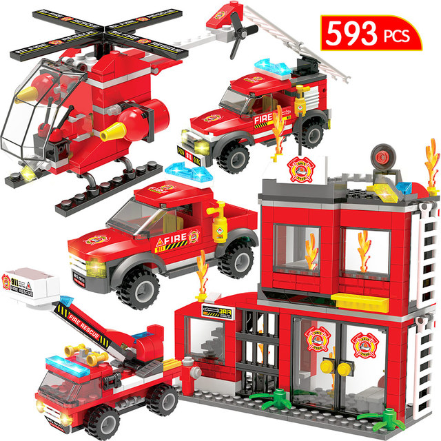 593PCS City Military Police Series Coastal Fire Car Truck Building Blocks Compatible City Fire Station Bricks Toys For Children
