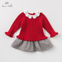 DBZ11941 dave bella autumn winter baby girl's princess plaid sweater dress children party dress kids infant lolita clothes