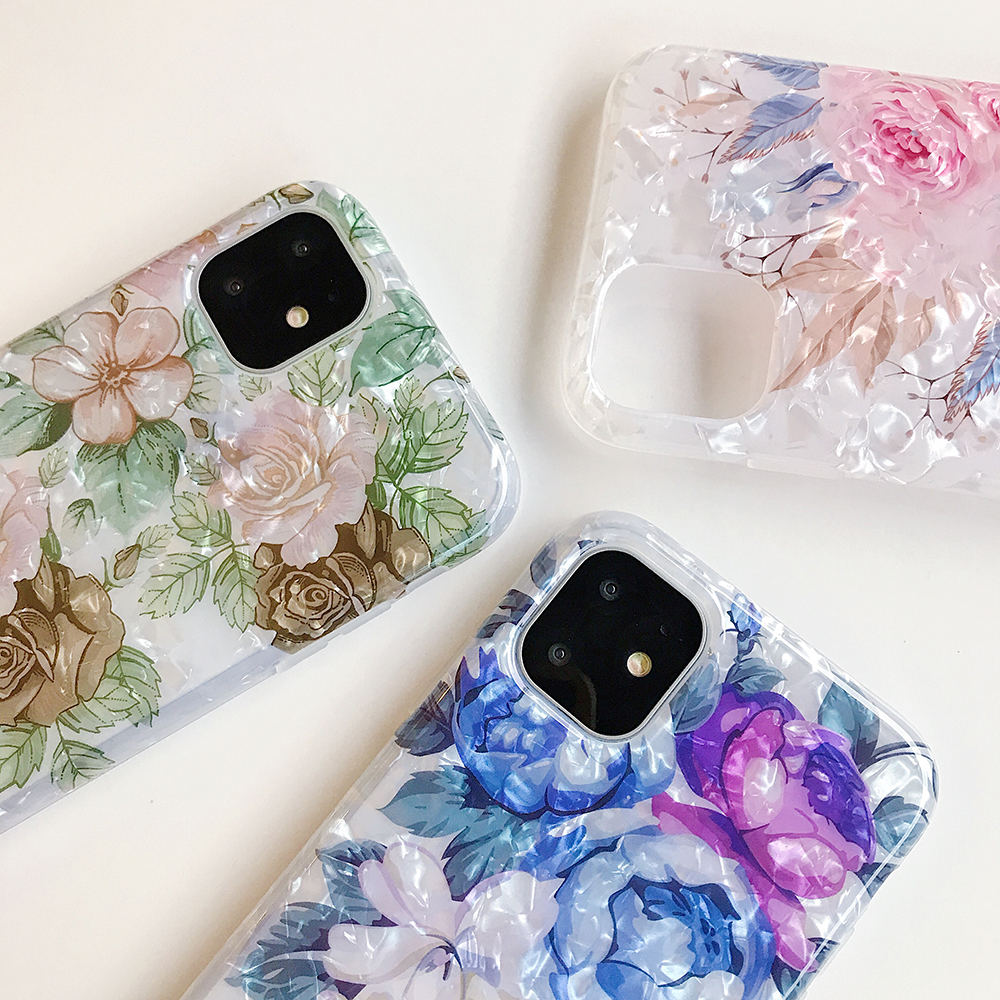LOVECOM Retro Floral Ring Stand Phone Case For iPhone Models 21