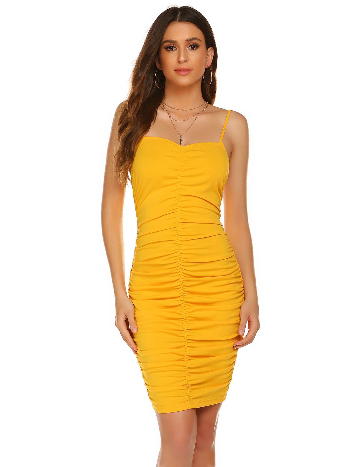 <font><b>Sexy</b></font> <font><b>Women</b></font> Spaghetti Strap <font><b>Dress</b></font> Strapless Sleeveless Backless Pleated Colour Yellow <font><b>Bodycon</b></font> Party <font><b>Dress</b></font> Slim Style 2020 image