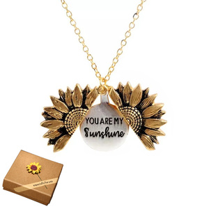 2019 New Gold Necklaces Women Fashion Jewelry Letter Engraved Open Locket Sunflower Pendant Necklaces Women Girl Birthday Gift(China)
