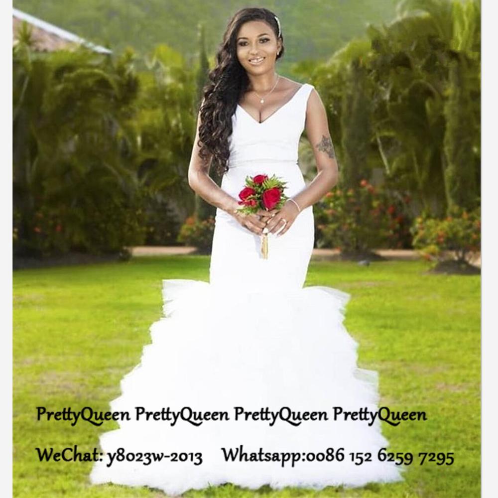 White Tiered Mermaid Wedding Dress For Women Deep V Neck Sleeveless Cheap Long Bridal Dresses Gown Vestido De Noiva
