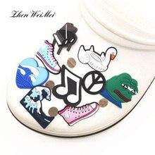 Обувь аксессуары пианино% 2FWaves% 2FKoala% 2Ffrog ПВХ обувь подвески аксессуары милый собака обувь украшение для Croc Jibz Kids Party X-mas Gift