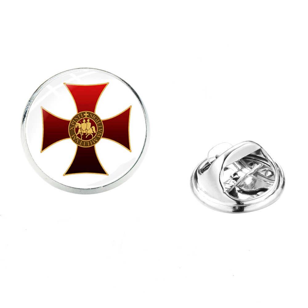 SONGDA Mason Cavalieri Templari Croce Rossa Risvolto Spille In Acciaio Inox Massonico Massone Degli Uomini Della Camicia di Vestito Spille Spille s Distintivi E Simboli Souvenir