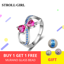 2019 New arrival Authentic 100% 925 Sterling Silver Sparkling Heart Ring with pink&blue CZ fahsion Jewelry for women gifts