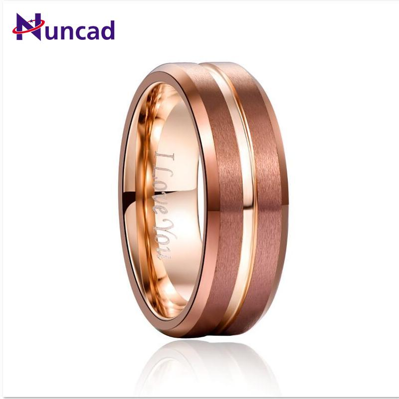 NUNCAD 8mm Width Tungsten Carbide Ring Brown Plating + Rose Gold Middle Groove Angle Tungsten Steel Men's Ring Comfort Fit