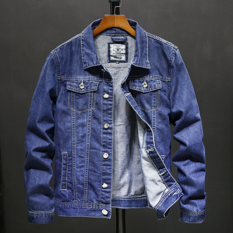 Classic Men's Denim Jacket Blue Autumn Simple Jacket Stretch Blue Locomotive Hip Hop Fashion Casual Jacket Trend Denim Jacket