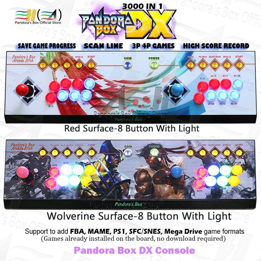 Pandora Box DX 3000 In 1 Arcade Game Console 8 Button Custom Support 3P 4P Game Save Game Progress Can Add 5000 Games 3D Tekken