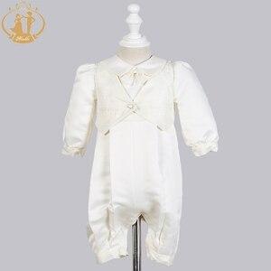 Image 2 - Zwinny Boys Baby chrzciny suknie Satin formalna okazja chłopcy Romper noworodków ubrania Ivory dzieci chrzest sukienki 0 12M