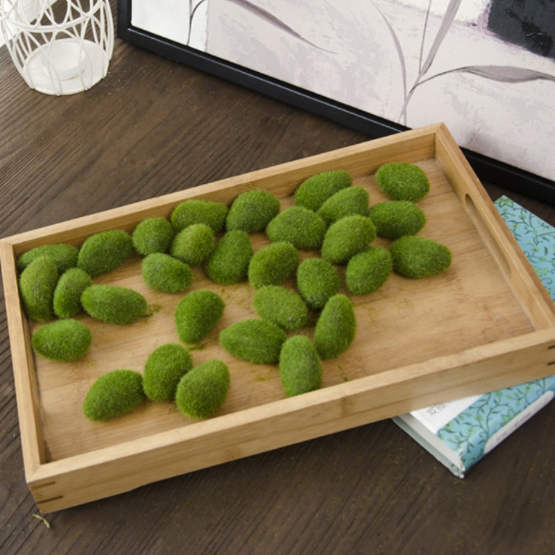 1 Bag artificial green moss ball fake stone simulation plant DIY decoration for shop window hotel home office plant wall decor(China)
