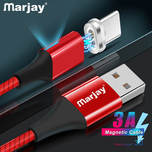 Marjay Magnetic Type C 3A LED Light USB Cable Fast Charging QC 3.0 Charger Type-c For Samsung S10 S9 Xiaomi 9