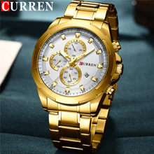 CURREN Man WristWatch Waterproof Chronograph Sport Men Watch Military Army Top Brand Luxury Gold Stainless Steel Male Clock 8354(China)