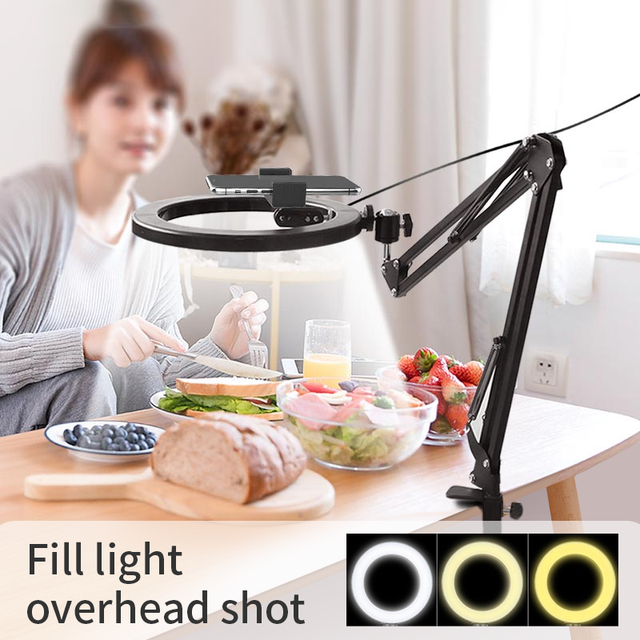 Photo Studio Camera LED Selfie Ring Light 26cm Ring Lamp with Stand Phone Holder Photography Ringlight for Youtube Live Lights
