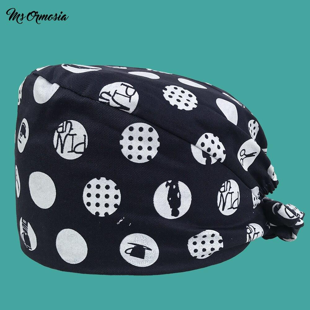 High Quality Printing Men And Women 100% Cotton Medical Care Cap Beauty Cap Doctor Hat Hospital Pharmacy Nurse Cap Bandage Hat