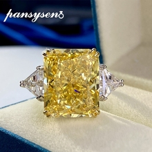 PANSYSEN 100% 925 Sterling Silver 13x16MM Created Moissanite Citrine Gemstone Wedding Engagement Ring Fine Jewelry Drop Shipping