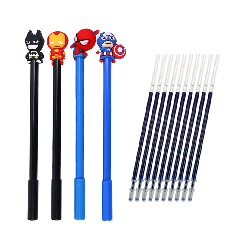 4+10 Pcs/lot Cute Marvel Character American Captain Batman Gel Pen Signature Pen Escolar Papelaria School Office Supply
