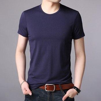 T-shirt men's short-sleeved 2019 summer new men's lapel summer silky cotton loose men's clothing