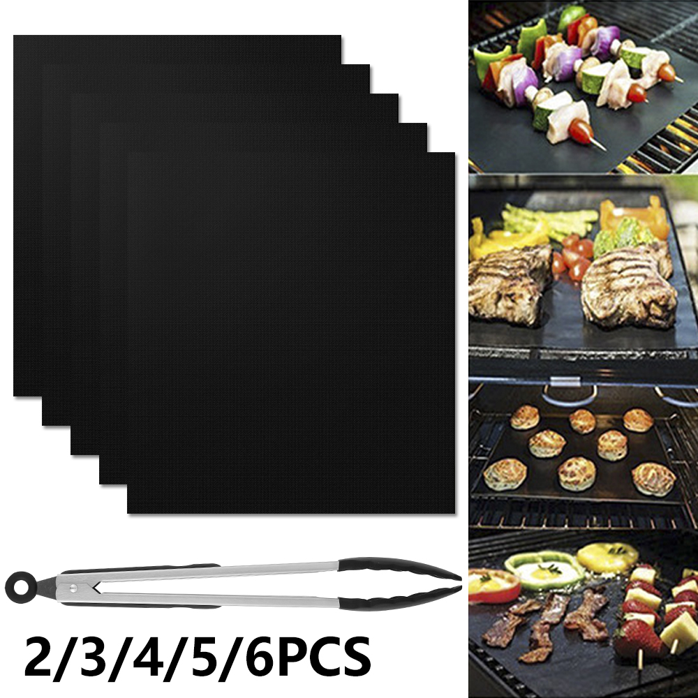 Reusable Non-Stick BBQ Grill Mat Pads Barbecue Grill Accessories Baking Cooking Sheet Oven Tool for Outdoor Picnic+1pc BBQ Tongs