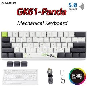 Image 1 - GK61 Mini Portable Panda Gaming Mechanical Keyboard Wireless Bluetooth Gamer Keyboard With Mix RGB Backlight Gateron Switch Axis