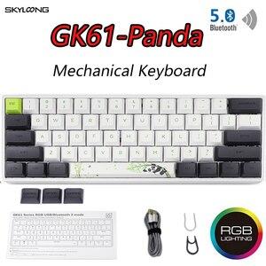 Image 1 - GK61 Mini teclado mecánico portátil Panda para videojuegos, teclado inalámbrico con Bluetooth para jugadores, con iluminación RGB mixta, Gateron, eje de interruptor