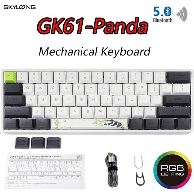 GK61 Mini teclado mecánico portátil Panda para videojuegos, teclado inalámbrico con Bluetooth para jugadores, con iluminación RGB mixta, Gateron, eje de interruptor