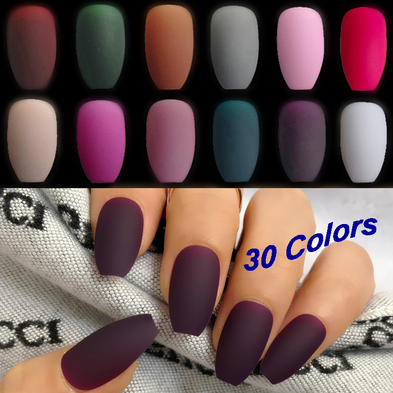 Wholesale Coffin Fake Nails Matte Wine Red Frosted Press On Nails Coloured White Black Peacock Blue False Nails 30 Colors