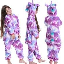 Kigurumi Kids Pajamas Costume Sleepwear Onesies Unicorn Animal Flannel Girls Baby Boys