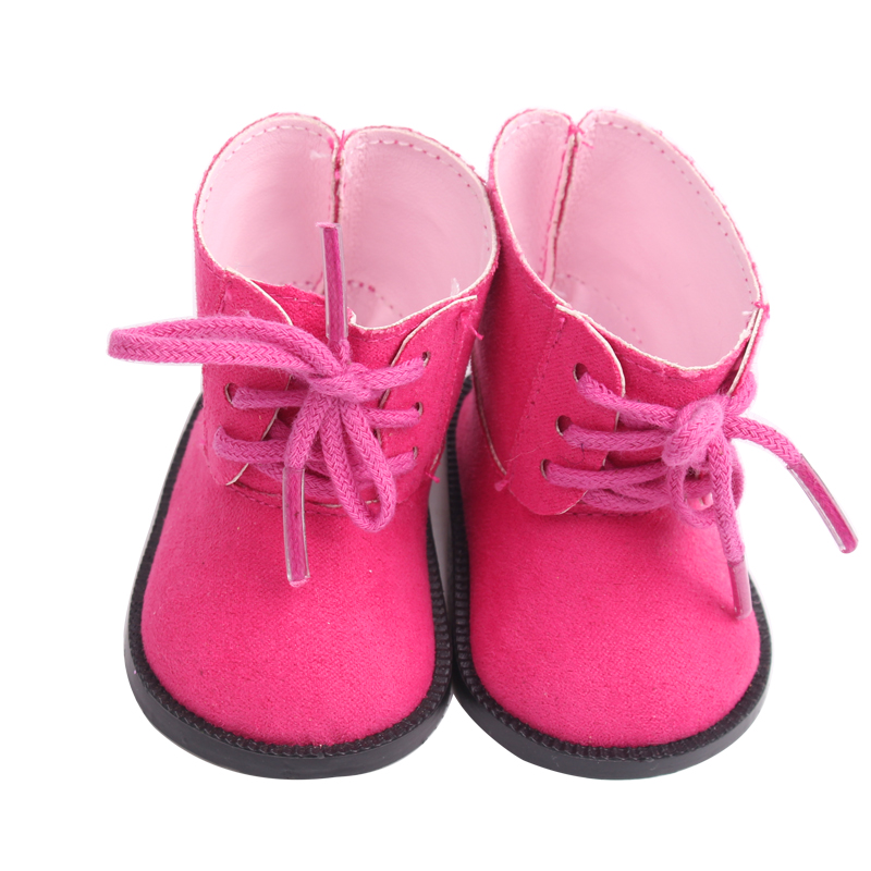 18 inch Girls doll shoes Magenta lace up Martin boots American newborn shoe Baby toys fit 43 cm baby dolls s181 in Dolls Accessories from Toys Hobbies