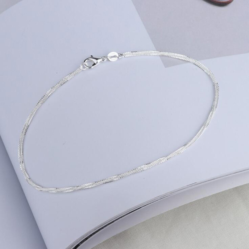 Hot Selling 925 Silver Anklet Fashion Twisted Female Bracelet Even Designed for Womens Feet