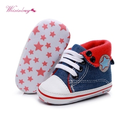 0-18month Baby Boys Girls Star Print Sneakers Leather Sports Crib Soft First Walker Canvas Shoes Blue Red