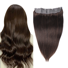Toysww 80g-120g Invisible Fish Line 100% Human Hair Wire in Halo Hair Extensions Dark Color #2