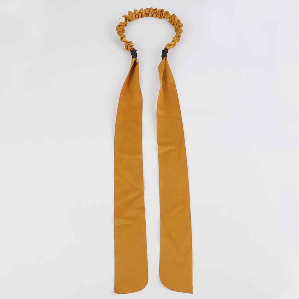 Perła z pałąkiem na głowę solidna koralowa tkanina wiązana spinka do włosów dla kobiet moda koreański styl kobiety akcesoria Vintage perła Hairband