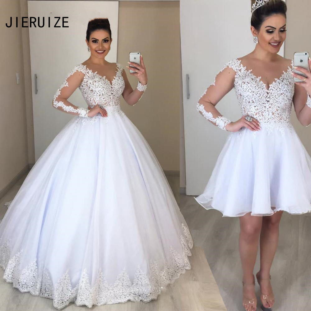 JIERUIZE Ball Gown Wedding Dresses With Detachable Skirt 2 In 1 Long Sleeve V Neck Lace Wedding Gowns Bride Dress Robe De Mariee