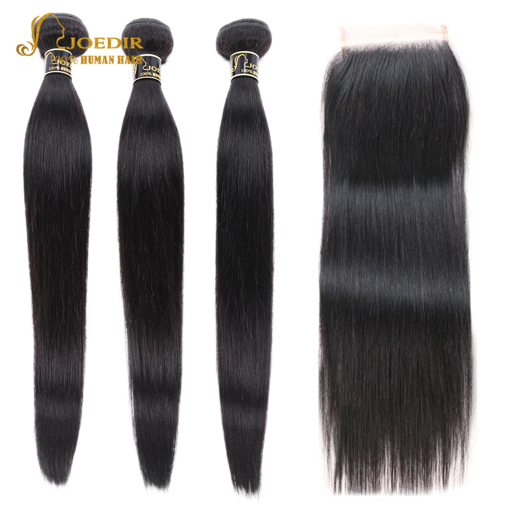 Joedir Hair Pre-colored Human Hair <font><b>Bundles</b></font> <font><b>With</b></font> <font><b>Closure</b></font> Brazilian Hair Straight Non Remy 3 <font><b>Bundles</b></font> <font><b>With</b></font> <font><b>Closure</b></font> Free Shipping image
