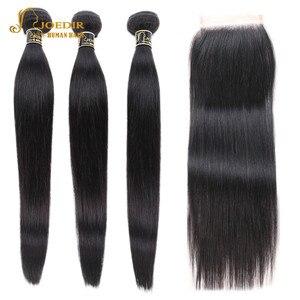 Image 1 - Joedir mèches de cheveux non remy brésiliennes lisses, pré colorées, avec Closure, lot de 3, livraison gratuite