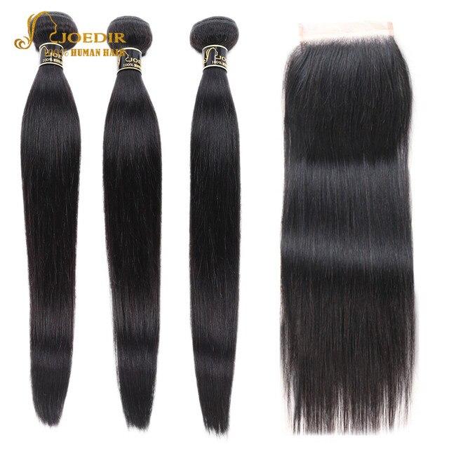 Joedir mèches de cheveux non remy brésiliennes lisses, pré colorées, avec Closure, lot de 3, livraison gratuite