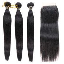 Joedir שיער מראש בצבע שיער טבעי חבילות עם סגירה ברזילאי שיער ישר ללא רמי 3 חבילות עם סגירת משלוח חינם