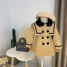 Jacket Trench-Coat Outerwear Windbreaker Girls Children Black for Collar Double-Breasted