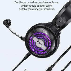 Image 5 - HOCO Led Light Gaming Headset Studio DJ Headphones Stereo Over Ear Wired Headphone With Microphone For PC PS4 Xbox One Gamer