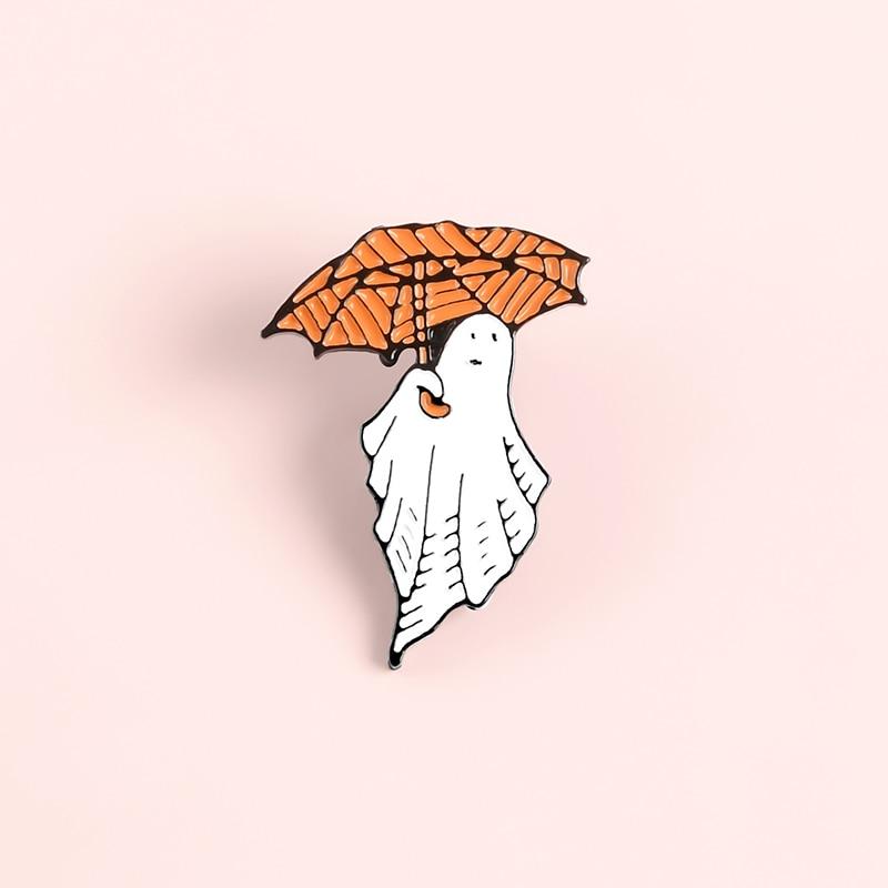 Happy Halloween Enamel Pin Custom Coffee Moon Ghost Pumpkin Umbrella Brooches Backpack Clothes Lapel Pin Fun Badge Jewelry Gift 5